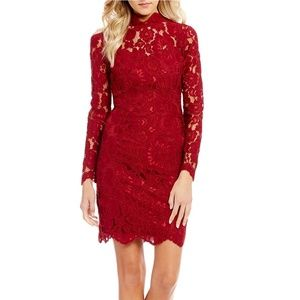 NWT Betsey Johnson Maroon Wine Lace Sheath Dress